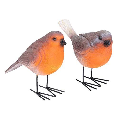 Folytiy Set of 2 Robins Resin Birds Ornaments Small Animal Bird Miniatures for Home Garden Decorations