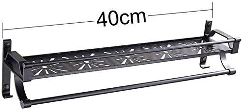 YANGSANJIN doucheplank badkamermeubel zwart aluminium badkamermeubel tafelrek tafelloper holder privé badkamer keuken organisator (formaat: 40 cm)