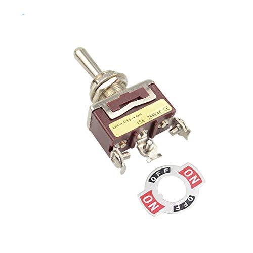Interruptores de Palanca 12mm 3position momentáneo Interruptor de Palanca (ON) Off (ON) de Retorno por Resorte de Enclavamiento ON-Off-ON Cubierta Impermeable (Color : Flat Pin, Size : Latching)