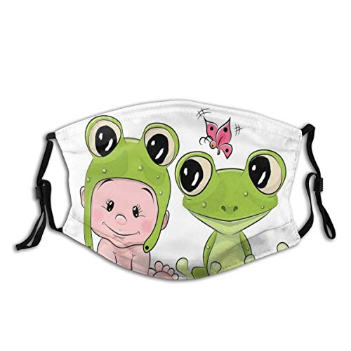Comfortable Filter Sponge Windproof Mask,Cute Cartoon Baby In Froggy Hat And Frog Best Friends Love Theme Graphic,Printed Facial Decorations For Unisex