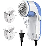 Powlaken Lint Remover and Fabric Shaver, Electric Portable Sweater Pill Defuzzer Fuzz Balls Remover, 2 Replaceable Stainless Steel Blades for Clothes, ouch, Blanket, Curtain, Legging