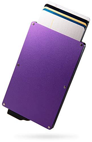 [zepirion] クレジットカードケース スキミング防止 磁気防止 スライド式 アルミニウム (パープル無地(クリップなし))