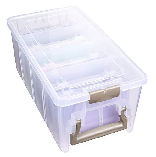 ArtBin Semi Satchel Photo Photo & Craft Organizer Set, Large Box with [8] Plastic Storage Cases Inside, Clear