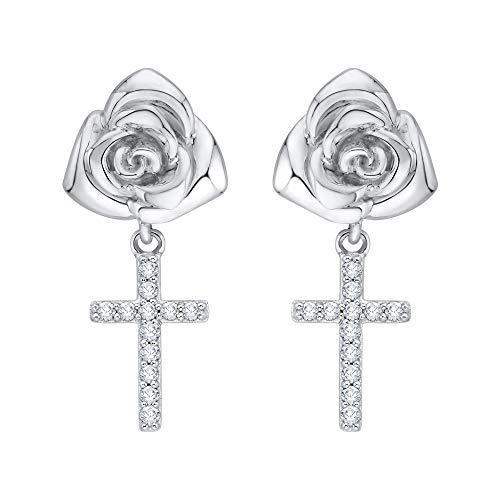 KATARINA Blooming Pendientes del Diamante de Rose Cruz cuelgan en Oro Blanco de 14 k (1/6 cttw, G-H, I2-I3)