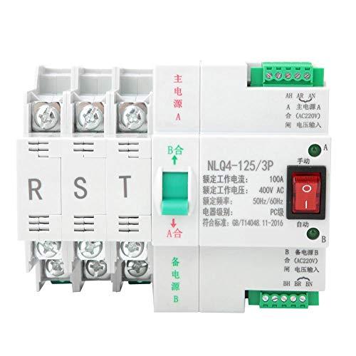 Regalo de Julio Interruptor de transferencia automática montado en riel, interruptor de palanca de transferencia automática de doble potencia AC 400V 3P 63/80/100A(100A)