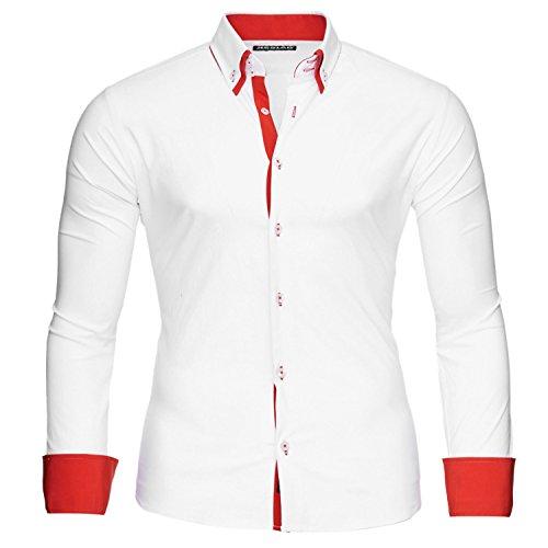 Reslad Alabama RS-7050 Herenoverhemd met lange mouwen, slim fit, contrasterend overhemd