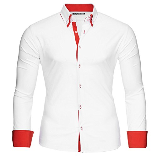 Reslad Herren Hemden bügelfreies Slim Fit Freizeithemd Männer Hemd Businesshemd zweifarbig 2 Kragen RS-7050 Weiß Rot Gr L