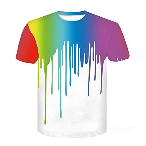 T-Shirt Herren Trenddruck Casual Sommer Herren Tops Tintendruck Jugend Streetwear Kurzarm Rundhals Elegantes Sport T-Shirt MS307 XXS