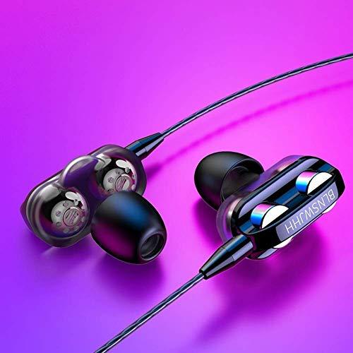 GPWDSN Auriculares con Cable para Juegos, Auriculares Deportivos universales en la Oreja con Graves Pesados, estéreo, con Cable, con (Cuatro Colores) (Negro)