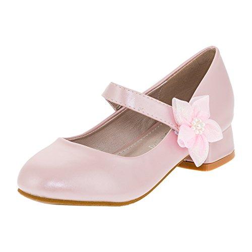 Festliche Mädchen Pumps Ballerinas Schuhe mit Absatz in vielen Farben M370rs Rosa 34
