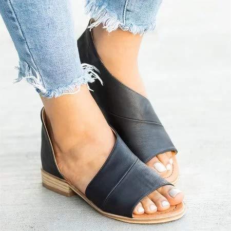 Drxiu Sandalias con Cubierta para talón de Leopardo de Verano para Mujer,Zapatillas con Punta Abierta para Mujer, Zapatos Casuales cómodos de tacón bajo,Negro,43