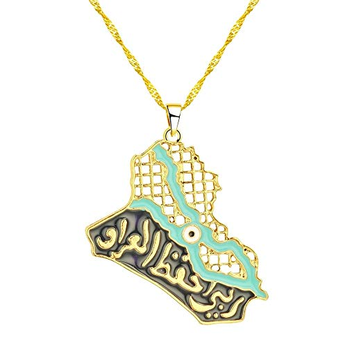 Revilium Iraq Map Pendant Necklaces for Women Men Ethnic Muslim Iraqi Jewelry Blue Eye Allah Necklace