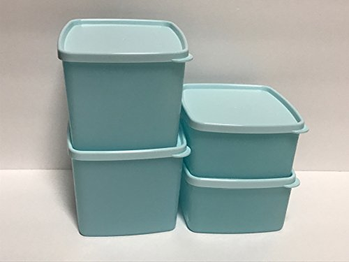 Tupperware Freeze-It PLUS Stain Guard - Freezer Safe Set of 4 Liquid & Airtight Food Storage Containers - 1.5 & 3.25 Cup Capacities