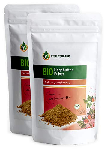 Kräuterland - Bio Hagebuttenpulver 1kg in Rohkostqualität - 100% rein, vegan, sehr fein - schonend gemahlene Bio Hagebutten Früchte Rosa Canina - laborgeprüft in Premiumqualität(2x500g)