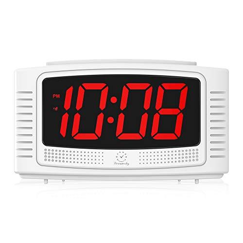 DreamSky LED Digitaler Wecker mit Große Ziffern Display, Lauter Alarm, Dimmer, Snooze, Einfache Bedienung, Tischuhr Netzbetrieben(Weiß)