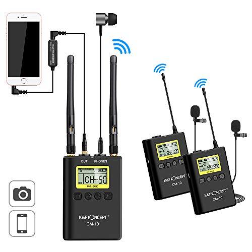 K&F Concept Microfono Wireless 100m,Microfono Lavalier con 2 Trasmettitori e 1 Ricevitore, Microfono Fotocamera Dslr per Video, Intervista,Registrazione,TikTok,Youtobe