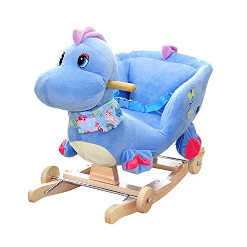 LALAWO Children's leisure chair Rocking Horse Children's Wooden Horse Baby With Music Solid Wood Dual-use Rocking Chair Baby Educational Toys 60 * 28 * 41cm (Color : Blue)