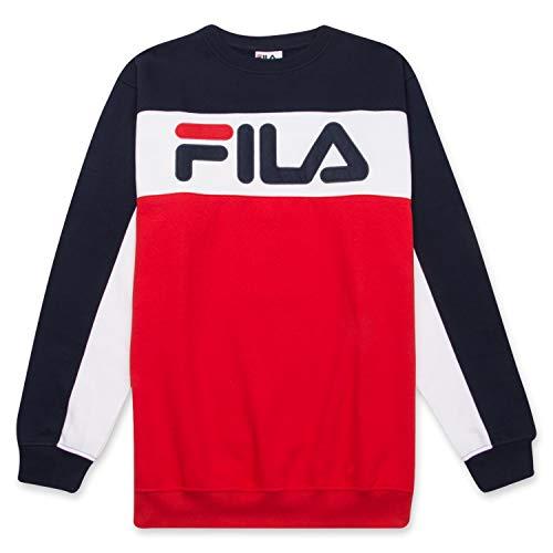Fila Men's Big and Tall Long Sleeve Color Block Crew Neck Soft Comfortable Fleece Sweatshirt Navy/White/Red XLT