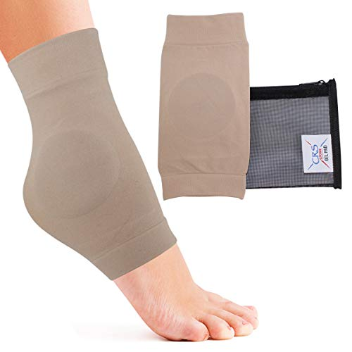 CRS Cross Ankle Malleolar Gel Sleeves - Premium Padded Skate Sock with Ankle Bone Pads for Figure Skating, Hockey, Inline, Roller, Ski, Hiking Boots. Ankle Protector & Cushion (One Size fits Most)