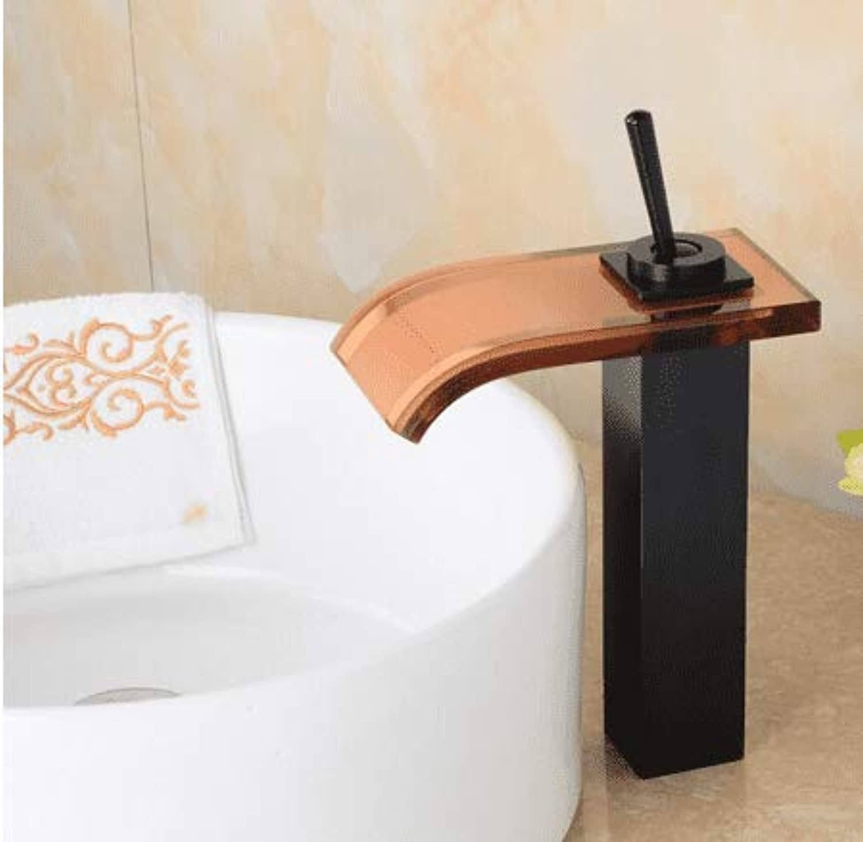 Waschtischarmatur Bathroom Oil Rubbed Waterfall Faucet Modern Bathroom Sink Faucetschwarz Waterfall Basin Mixer schwarz Glass Water Sink Tap