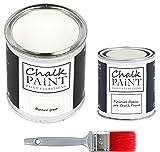 CHALK PAINT Bianco Gesso & FINITURA + PENNELLO - Kit Pronto Vernicia e Proteggi (750ml Colore + 250ml Finitura + Pennello Professionale 40)