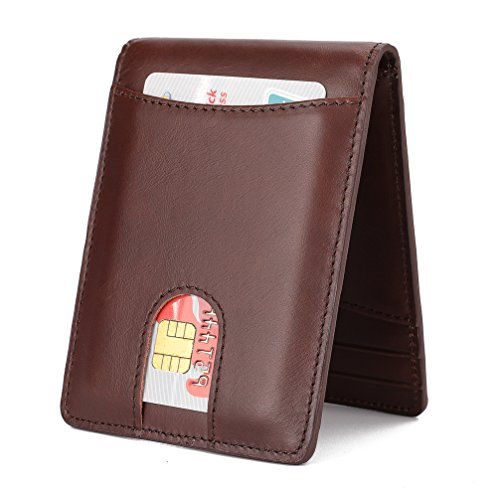 Mens Wallet Slim Genuine Leather Front Pocket Wallet for Men Billfold with ID Window Magnetic Money Clip Quick Access Slot and RFID Blocking - Coffee02
