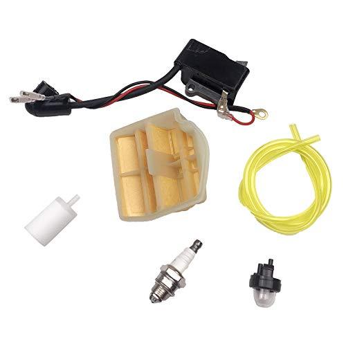 FLAMEER Bobina de encendido filtros de combustible Kits para Husqvarna 445 de 450 y para Jonsered 2245 2250 OEM 504571401 Sierra herramienta suministros