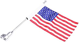 E-Bro Motorcycle Flag Pole Luggage Rack Vertical American For Honda GoldWing GL1800 2001-2012 (USA Flag with Flat Pole)
