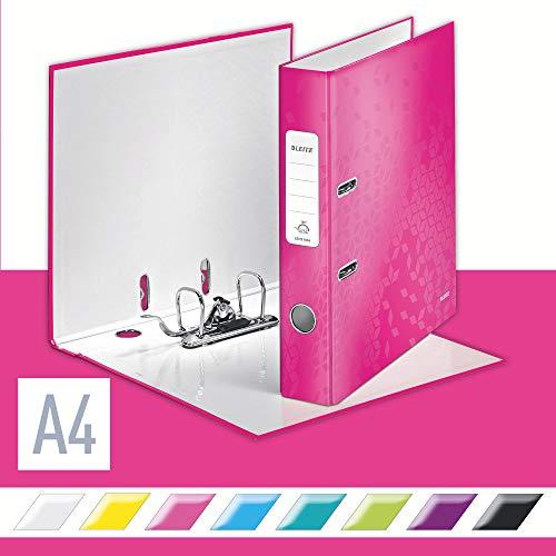 Leitz 10060023 Qualitäts-Ordner (A4, 5,2 cm Rückenbreite, Graupappe mit laminierter Oberfläche, WOW) pink glänzend