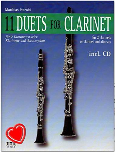 11 Duets for Clarinet : unterschiedlichste Stile von Jazz bis Calypso und von Blues bis zum französischen Musette-Walzer - Notenbuch von Matthias Petzold mit CD und bunter herzförmiger Notenklammer