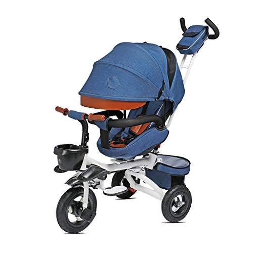 CAIMEI Triciclo para Niños en Bicicleta con Dosel de 3 Ruedas con Pedal de Empuje (Color: Gris),Azul