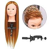 Luckyfine Professionnel 24'' Super Longs Cheveux Naturels, Tête d'exercice Femme Dorée, Tête à coiffer, Tête de Coiffure + Support