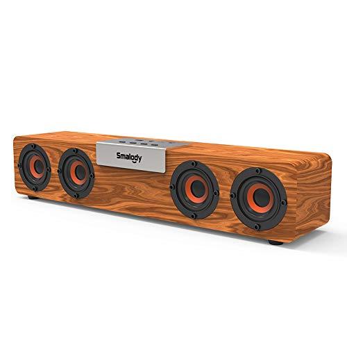 Smalody Soundbar, Altoparlante Bluetooth in legno,True Wireless Bluetooth 5.0 con audio HD da 20 W e bassi ricchi, USB integrato, ingresso TF e AUX, Altoparlante per PC, telefono, tablet e altro