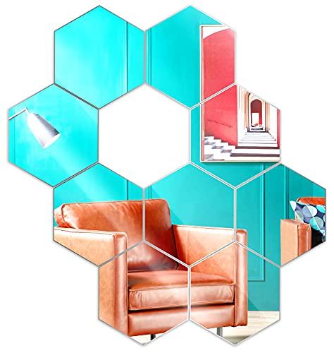 9 Stücke 7.5cm Sechseckiger Wandtattoo Spiegel, EONAZE 3D Acryl Wanddeko Boho Spiegel, Homestyle Rahmenloser Facettenspiegel DIY Flexibler Selbstklebend Spiegelfliesen