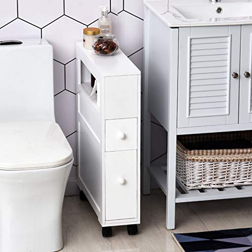 A narrow bathroom storage cabinet can be used in the bedroom when there's no room for nightstands