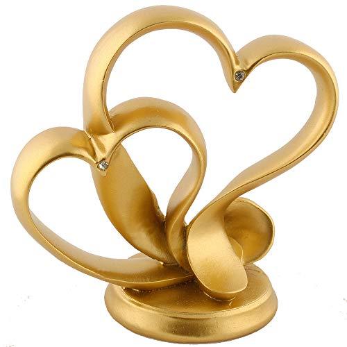 Hochzeit Deko Dekoration Herz Modern Tortenaufsatz Tortenfigur Herzaufsatz Tischdeko Tortendeko Herzdeko (Gold)