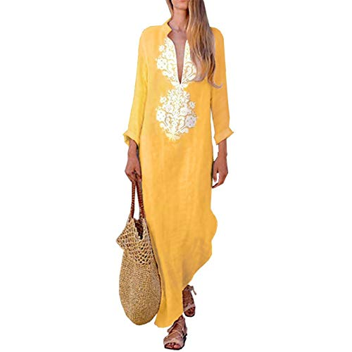 JSGJLYQQ Robe 2019 Musulman ridée Robe Droite à Manches Longues Robe Longue Tunique Moyen-Orient Ramadan Arabe Islamique vêtements-Yellow,XXXL