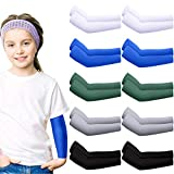 Hicarer 10 Pairs Sun Protection Cooling Arm Sleeves Ice Silk Elastic Arm Sleeves for Kids Toddlers Outdoor Sports (Colorful)