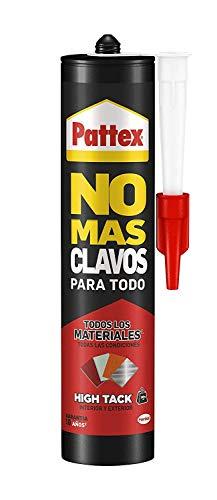 Pattex No Mas Clavos Para Todo HighTack, adhesivo de montaje resistente a temperaturas extremas, pegamento fuerte en superficies húmedas, adhesivo blanco, 1 cartucho x 446 g