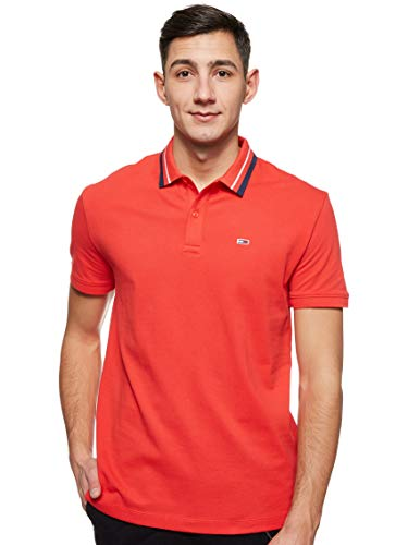 Tommy Hilfiger Tjm Tommy Classics Stretch Polo Maglietta, Rosso (Flame Scarlet 667),...