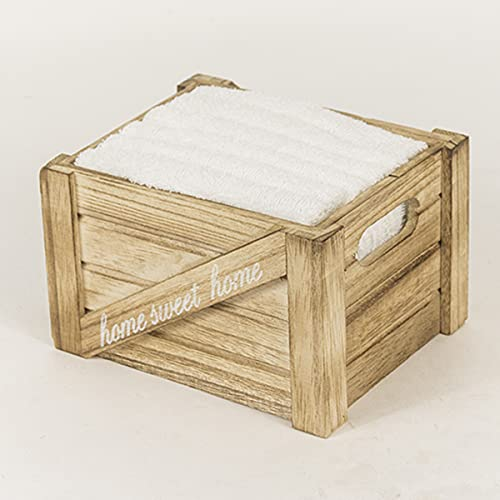 R.P. Set Spugna Lavette Boxes Shabby Country Chic - 6 Asciugamani Viso cm 30x30 con cassettina in Legno - Idea Regalo - Bianco