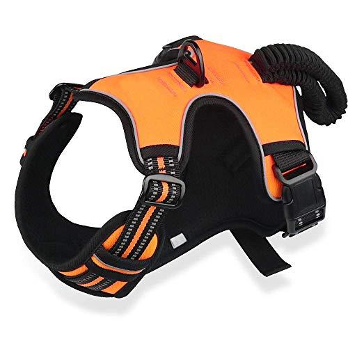 Dociote No-Pull Hundegeschirr Mittelgroße Grosse Hunde Verstellbar Atmungsaktiv Brustgeschirr für Hunde reflektierende Antizuggeschirr mit Weich Gepolstert Elastisch Griff Orange XL