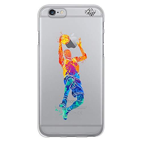 BJJ SHOP Funda Slim Transparente para [ iPhone 6 / iPhone 6s ], Carcasa de Silicona Flexible TPU, diseño : Jugador Baloncesto encestando la Pelota