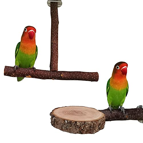 2 perchas para loros para jaula de pájaro, madera natural, juguetes para peluca, palo de trituración, ramas de jaula de pájaro y plataforma para cacatoès, conura