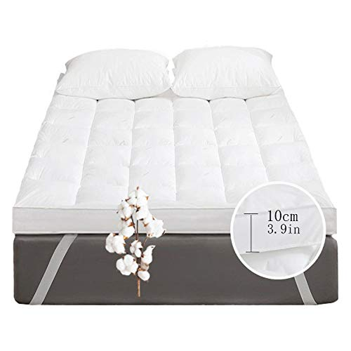 ZLBIN Futon Mattress, Mattress Topper 5 Inch And 10Inch Supersoft Heavy Fill Single Double King Stitched And Elasticated Corner,White10CM-180 * 200cm*(71x79in)