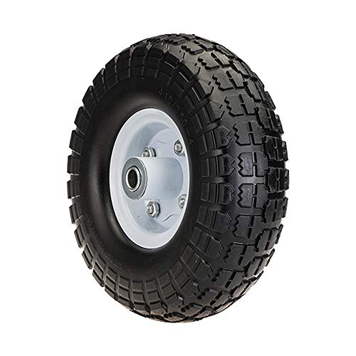 "SLT 4.10/3.50-4"" Flat Free Wheelbarrow Tire on Wheel, 2"" Offset Hub, 5/8"" Ball Bearings, Durable Replacement Tire Hand Truck/All Purpose Utility Tire on Wheel"