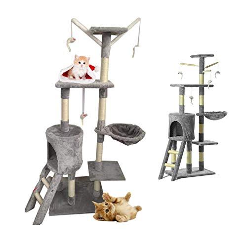 Nihui Luxus Kratzbaum mit mehreren Ebenen, 140 cm, grau, Katzenkratzbaum, Kratzbaum mit Sisal, stabiles Spielcenter für Katzen und Kätzchen, Kletterturm