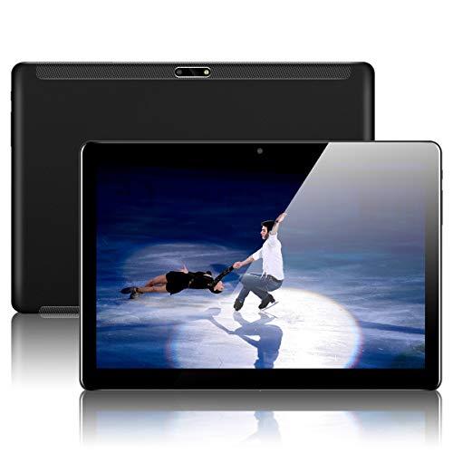 Tablet 10 Zoll Android Tablet PC mit Dual Simkarten Slot Padgene 1280x800 Quad Core CPU 1G RAM 16G Speicher Google Tablet PC Glas Bildschirm Dual Kamera WiFi/3G GPS Telefonfunktion(Schwarz)