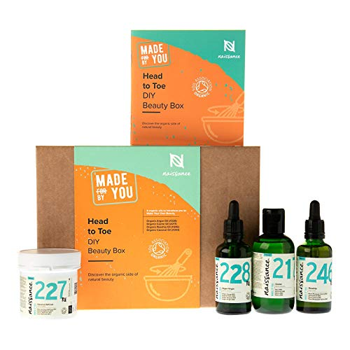 Naissance Vegan & Organic Beauty Gift Set for Hair, Face & Body Care – 'Head to Toe' Contains - Rosehip, Argan, Coconut and Castor Oils - The Ideal Gift for Any Occasion