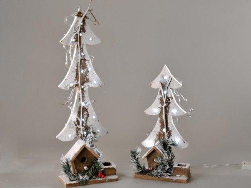 Formano Holzbaum mit Licht Schnee Holz Lichterkette 590510 590503, Größe:60cm